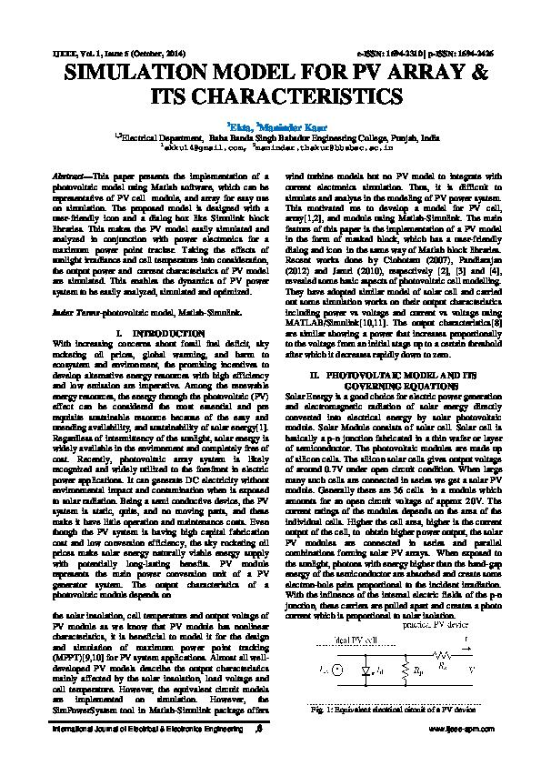 PDF) Simulation Model for PV Array & Its Characteristics | IJEEE APM