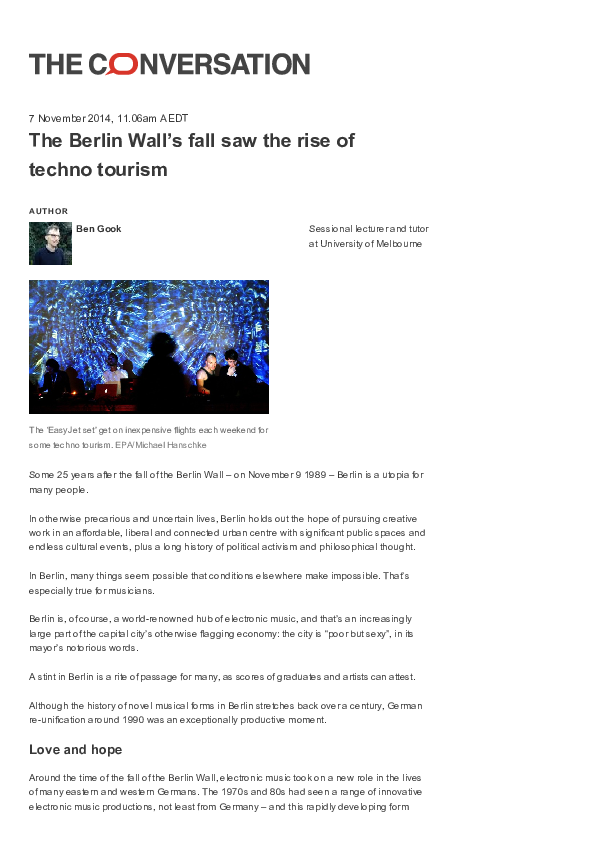 PDF) The Berlin Wall's fall saw the rise of techno tourism