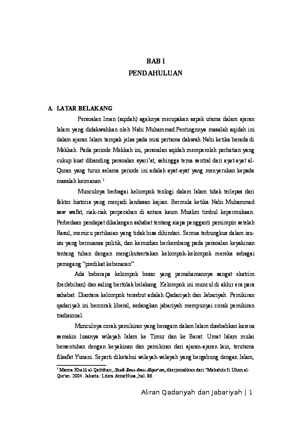 Doc Makalah Ilmu Kalam Aliran Qadariyah Dan Jabariyah Muhammad Kholid Ismatulloh Academia Edu