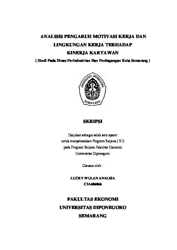Pdf Analisis Pengaruh Motivasi Kerja Dan Lingkungan Kerja Terhadap Kinerja Karyawan Syarifah Muhani Muhani Academia Edu