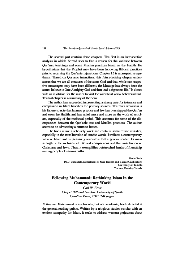 PDF) Following Muhammad: Rethinking Islam in the Contemporary World