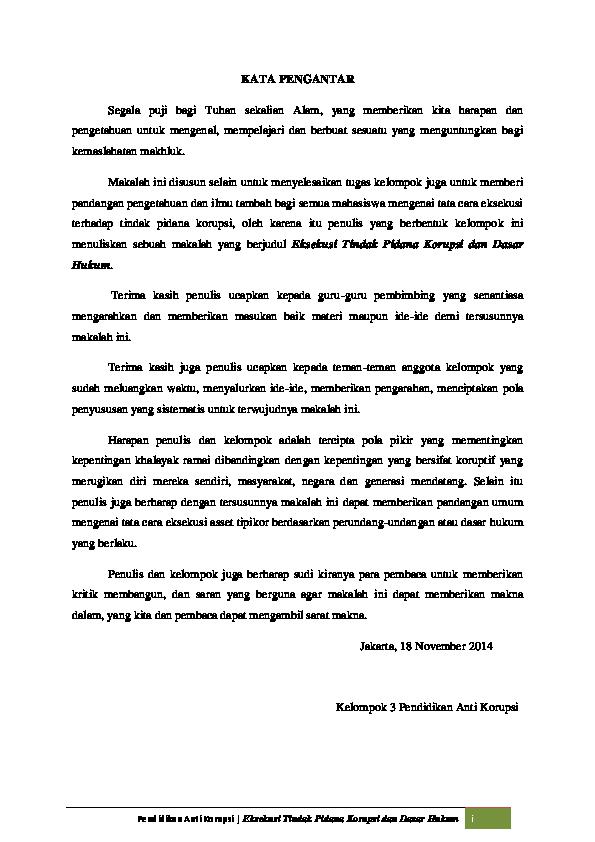 Doc Eksekusi Tindak Pidana Korupsi Dan Dasar Hukum Iqbal Muhammad Academia Edu