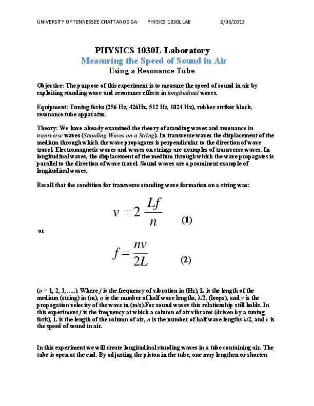 PDF) PHYSICS 1030L Laboratory Measuring the Speed of Sound in Air