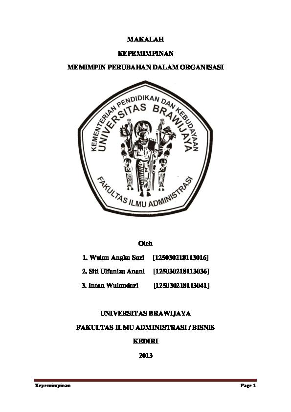Doc Makalah Kepemimpinan Memimpin Perubahan Dalam Organisasi Intan Wulandari Academia Edu