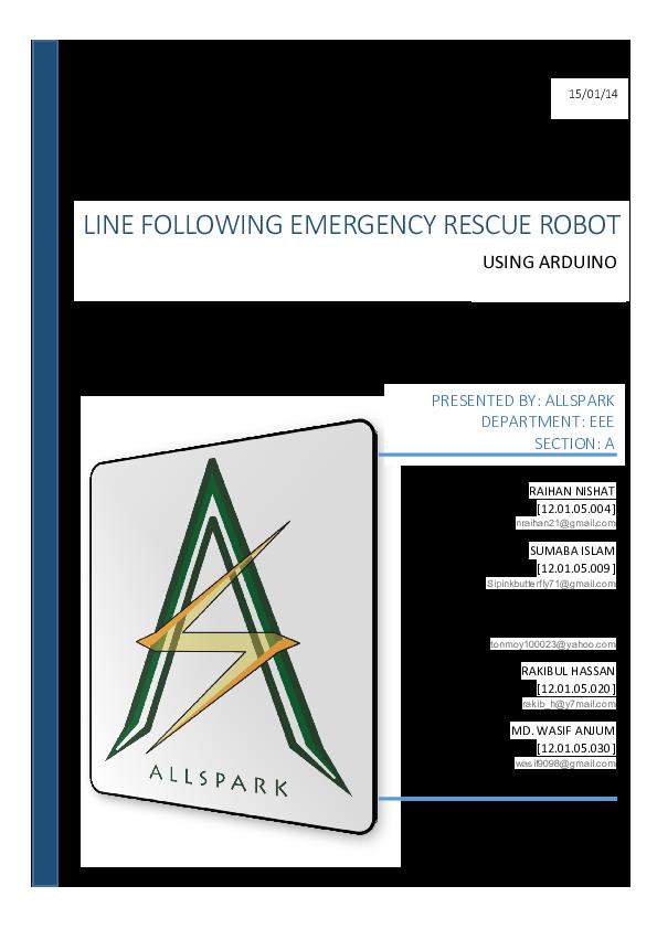 PDF) Line Follower Emergency Rescue Robot | Asaduzzaman