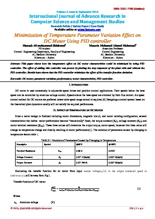 PDF) Minimization of Temperature Parameter Variation Effect