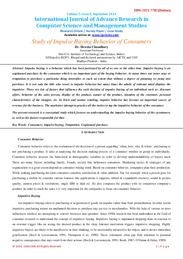 Research paper on buying behaviour of consumer