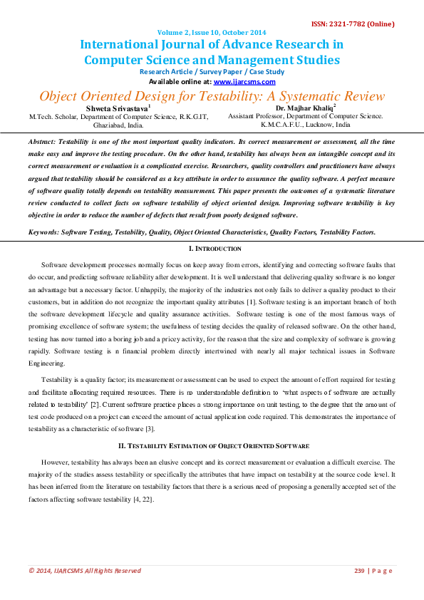Pdf Object Oriented Design For Testability A Systematic Review International Journal Of Advance Research In Computer Science And Management Studies Ijarcsms Ijarcsms Com Academia Edu