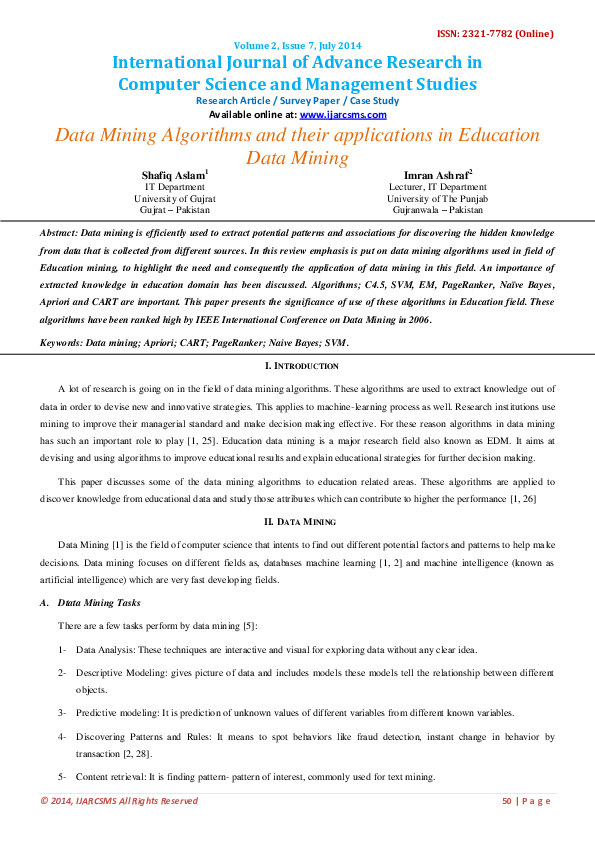 PDF) Data Mining Algorithms and their applications in