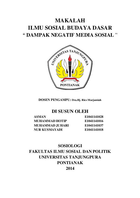 Doc Makalah Dampak Negatif Media Sosial Nur Kusmayadi Academia Edu