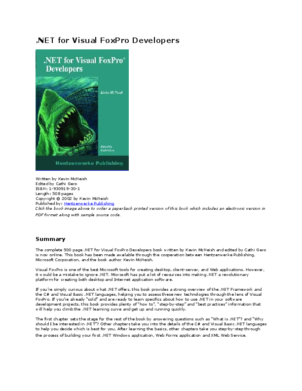 PDF) NET for Visual FoxPro Developers | Marco Villaseñor