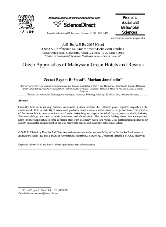 DOC) Green approaches of Malaysia green hotels and resort