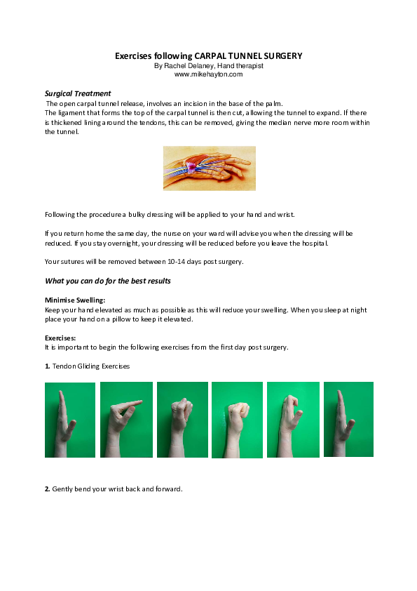 Pdf Exercises Following Carpal Tunnel Surgery Abhishek Sharma