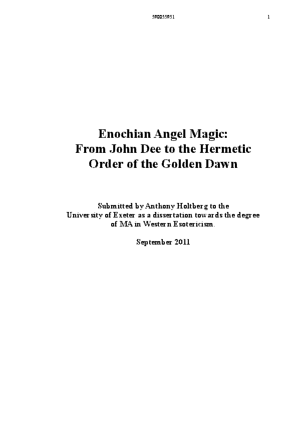 PDF) Enochian Angel Magic: From John Dee to the Hermetic
