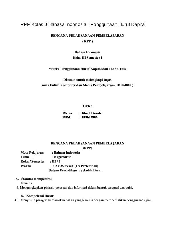 Doc Rpp Kelas 3 Bahasa Indonesia Siti Farida Academia Edu