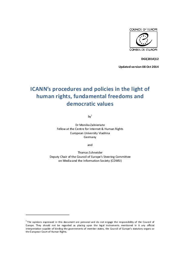 PDF) ICANN's Procedures and Policies in the Light of Human