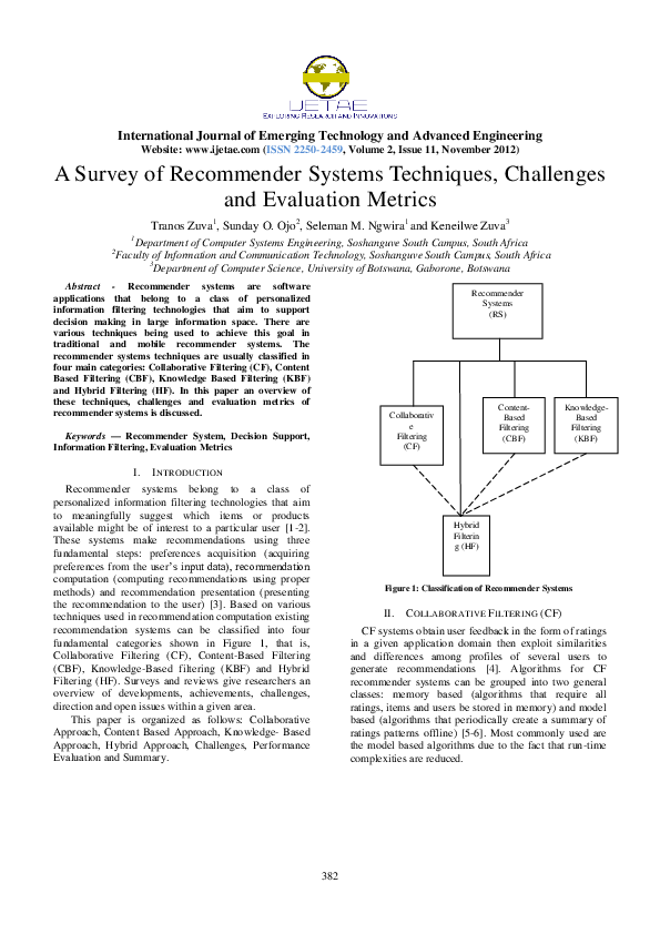 PDF) A Survey of Recommender Systems Techniques, Challenges