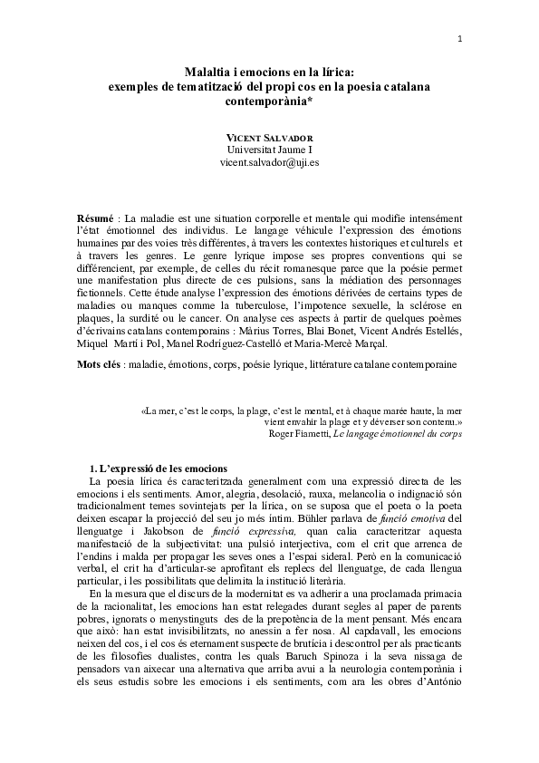 Pdf Malaltia I Emocions En La Lírica Exemples De Tematització Del Propi Cos En La Poesia Catalana Contemporània Vicent Salvador Academia Edu