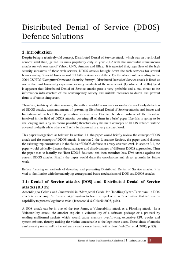 denial service research paper