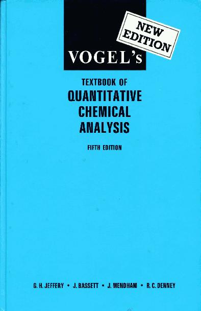 Vogels Textbook Of Quantitative Chemical Analysis 5th Ed G H