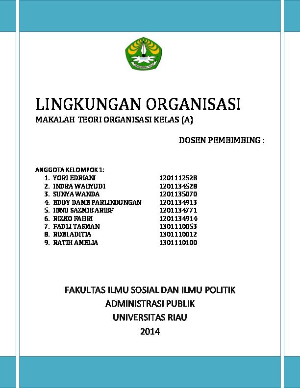 Doc Lingkungan Organisasi Yori Edriani Academia Edu