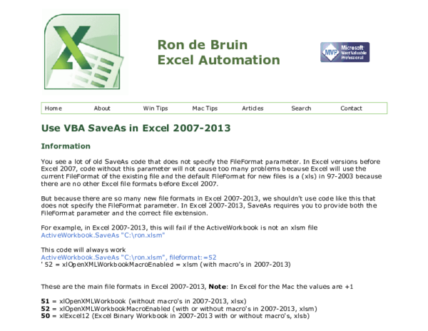 PDF) Use VBA Save As in Excel 2007-2013 | moto gku