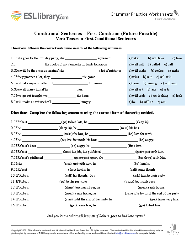 f5d26e7ec40fa0 PDF) Conditional Sentences – First Condition (Future Possible) Verb ...
