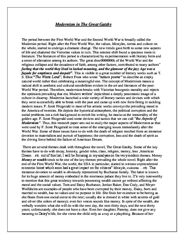 DOC) Modernism in Great Gatsby | Farazeh Nayyar - Academia edu