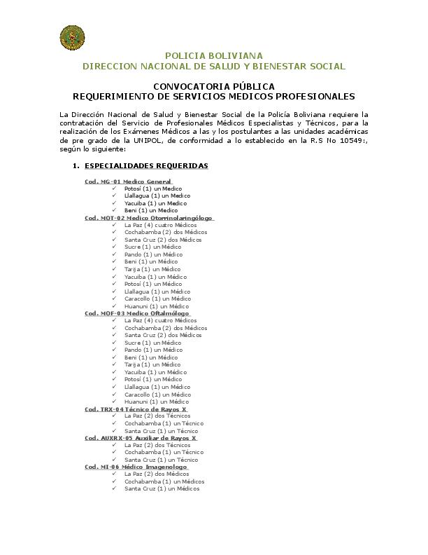Policia Boliviana Direccion Nacional De Salud Y Bienestar Social