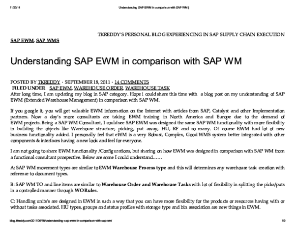 PDF) 1/25/14 Understanding SAP EWM in comparison with SAP WM