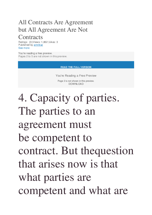 All Contracts Are Agreement But All Agreement Are Not Contracts