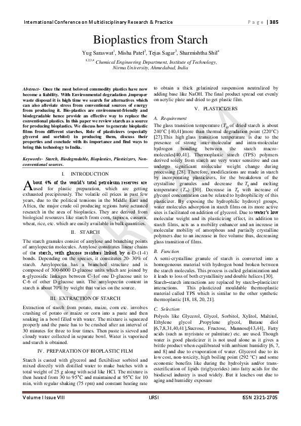 PDF) Bioplastics from Starch | Research and Scientific