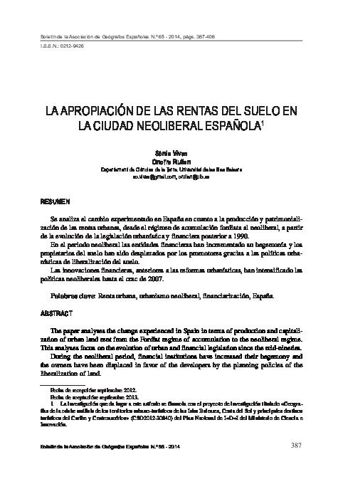 PDF) LA APROPIACIÓN DE LAS RENTAS DEL SUELO EN LA CIUDAD