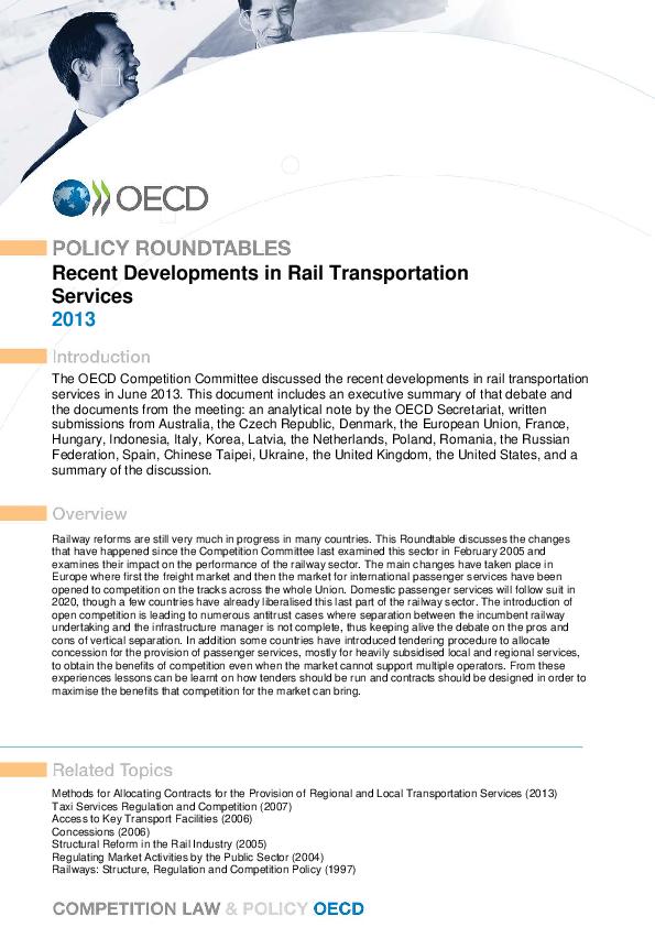 PDF) Recent Developments in Rail Transportation Services