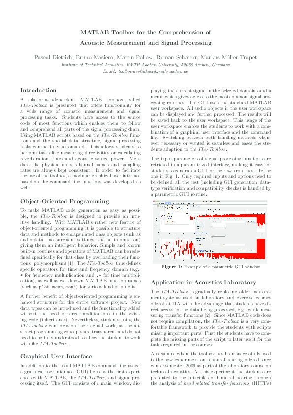 PDF) MATLAB Toolbox for the Comprehension of Acoustic Measurement