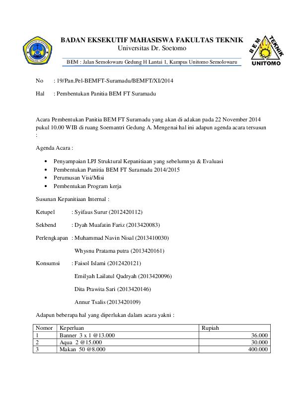 Doc Contoh Surat Pengajuan Dana Badan Eksekutif Mahasiswa Fakultas