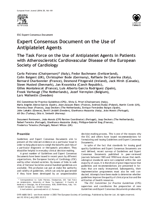 PDF) Expert Consensus Document on the Use of Antiplatelet