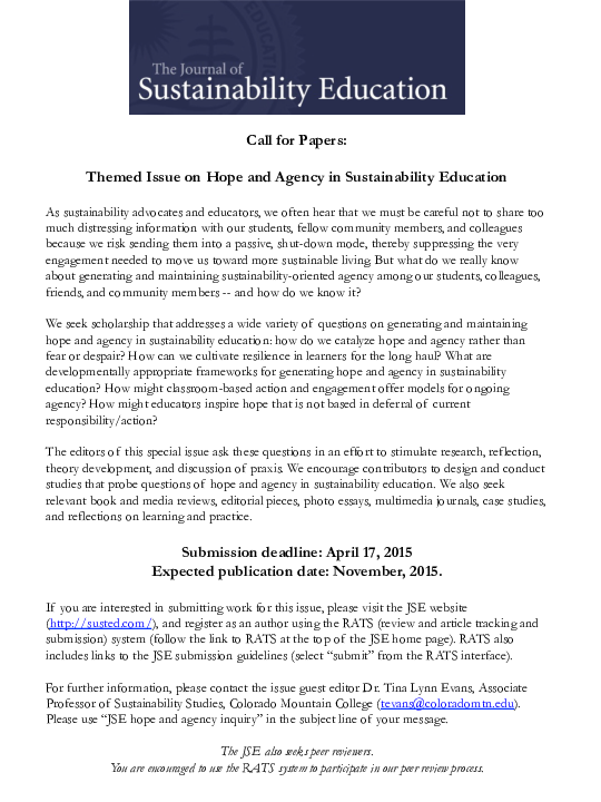 PDF) Call for Articles: Journal of Sustainability Education