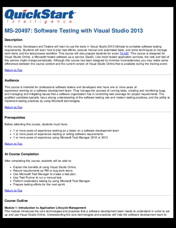 PDF) MS-20497: Software Testing with Visual Studio 2013 | Saurabh