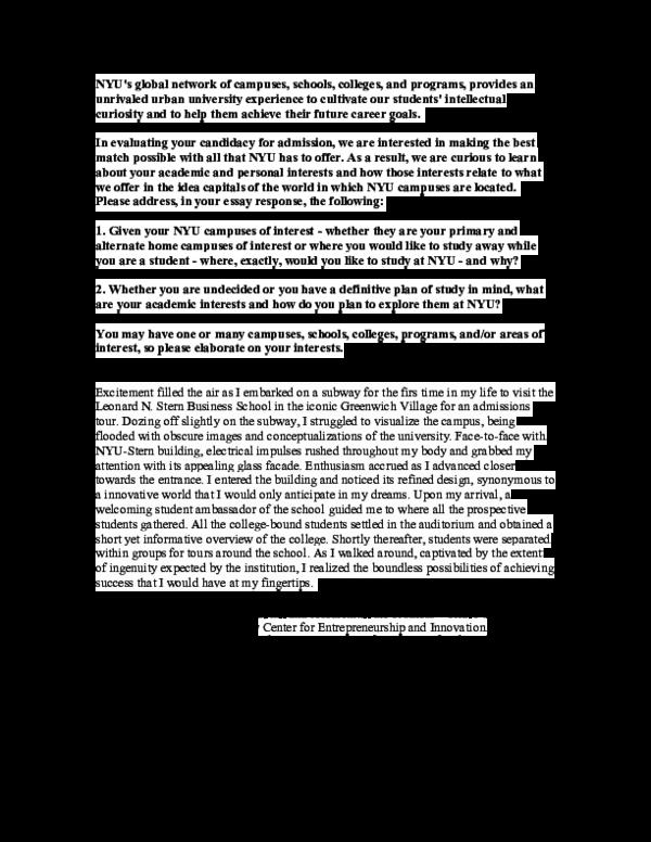 nyu supplement essay 2019-2020