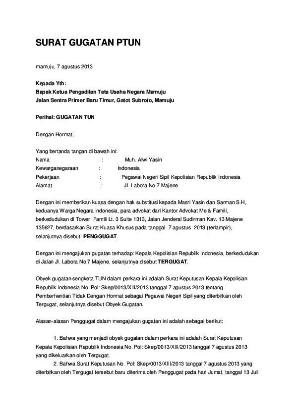 Contoh Surat Gugatan Ptun Riko Syahrudin Academiaedu