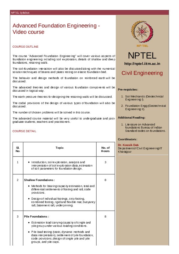 PDF) NPTEL Syllabus Advanced Foundation Engineering - Video course