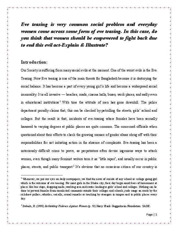 essay on eve teasing ones enjoyment others punishment