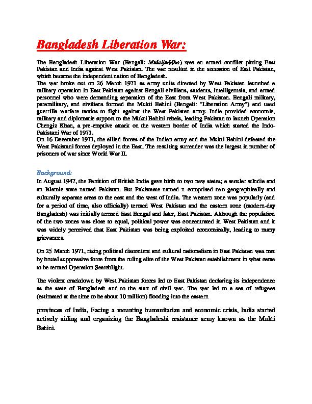 DOC) Bangladesh Liberation War | Juwel Sadi - Academia edu