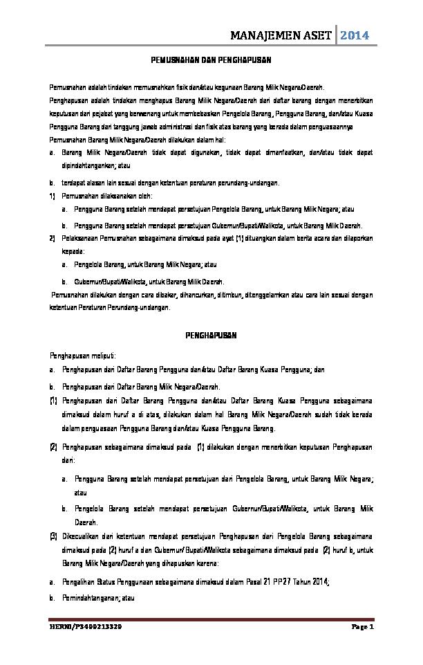 Doc Pemusnahan Dan Penghapusan Herni Djufri Academiaedu