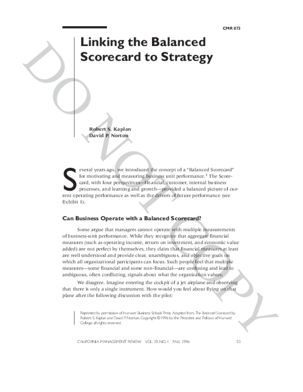 PDF) Linking the Balanced Scorecard to Strategy Can Business