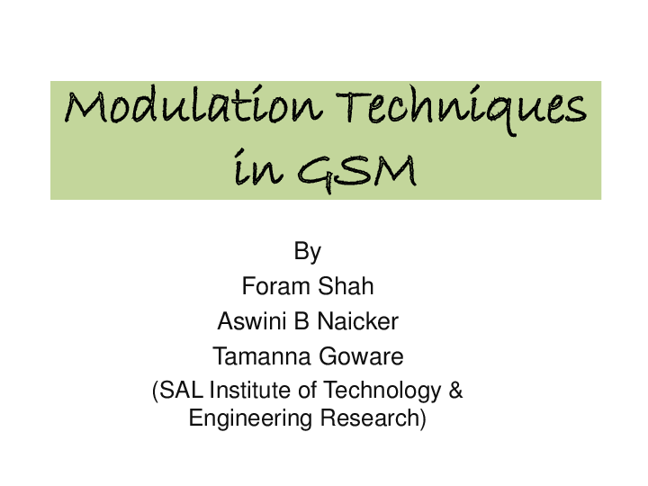 PPT) Modulation Techniques in GSM & Overview | Tamanna Goware