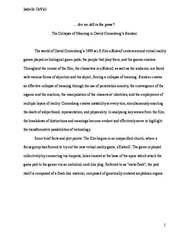 PDF) Are we still in the game?: The Collapse of Meaning in