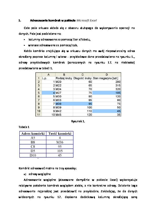 Pdf Adresowanie Komórek W Pakiecie Microsoft Excel Monika