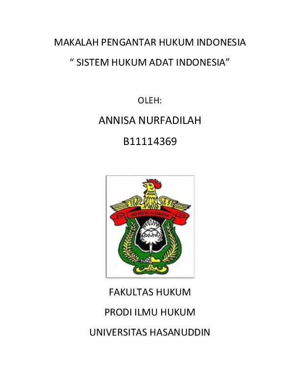 Doc Makalah Pengantar Hukum Indonesia Annisa Nurfadilah Academia Edu